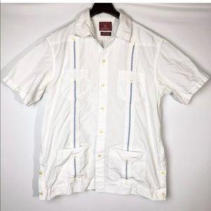 Lucky Brand Shirts - Lucky Brand Mens White Short Sleeve Cuban Embroide